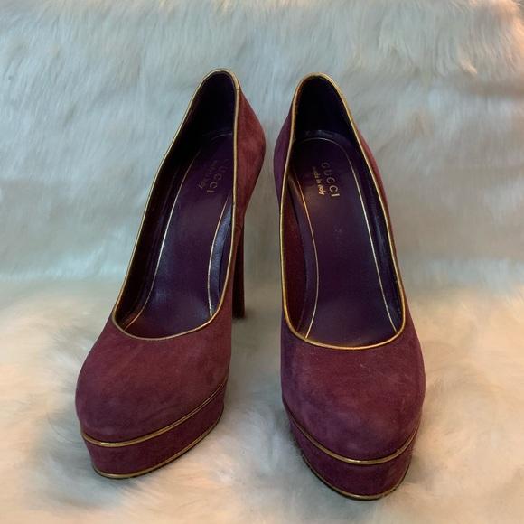 f66fa4569fe Gucci Shoes - Gucci suede high heel platform pumps.
